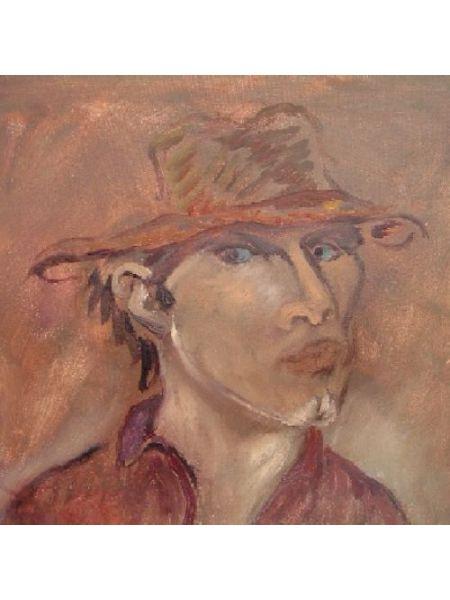 Autoritratto con Cappello e Camicia Rossa - Bruno Donadel